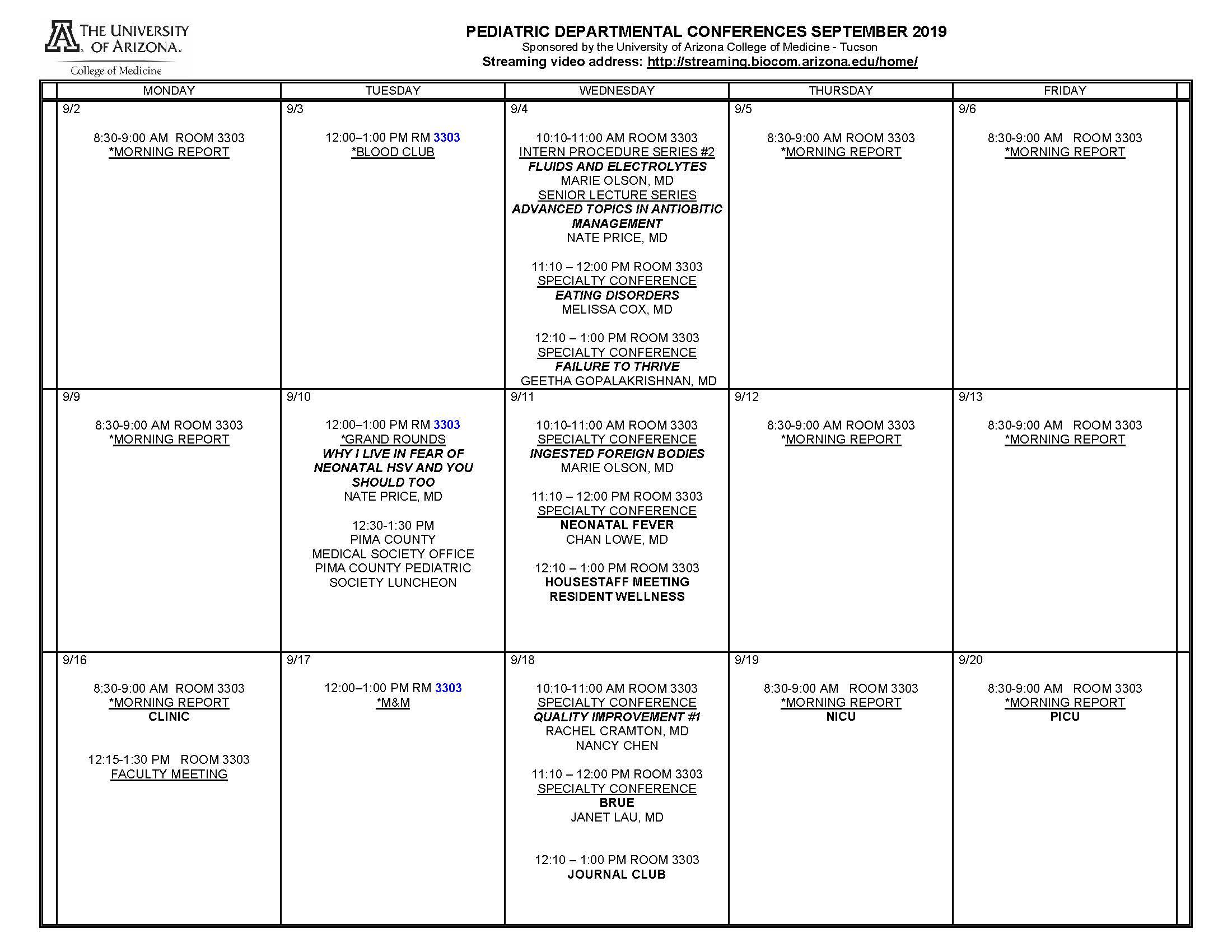 Pediatric Conference Calendar | University of Arizona